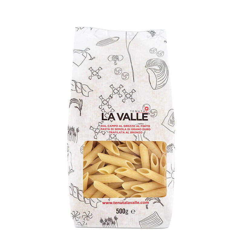 Penne Tenuta La Valle, classic pasta format, unmatched in collecting and retaining sauces and condiments.