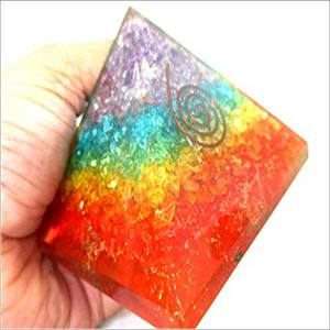 Jet Energized Chakra Rainbow 4 inch Orgone Pyramid Gemstones Copper Metal Mix Rare Healing Positive Energy EMF Protection