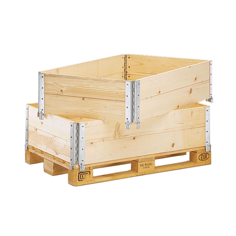 New or used wooden storage crate parts, pallet collar in stock
