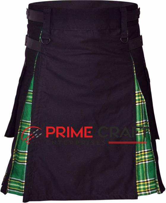 Brand New Hybrid Kilt Black & Irish Tartan Hybrid Utility Kilt ''30 to 60''