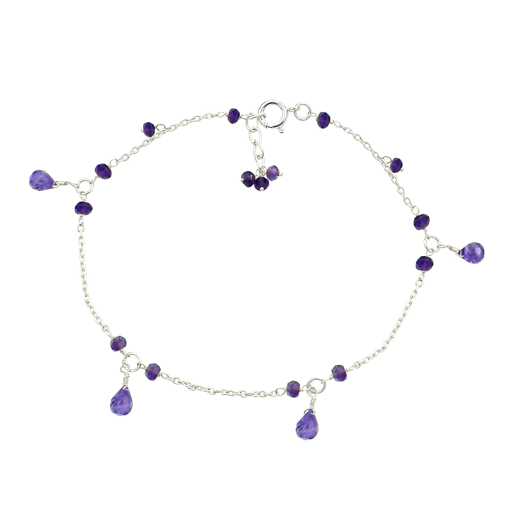 Indian Jewelry Making Amethyst Gemstone Beaded Anklet 925 Sterling Silver Smooth Round Cabochon Beaded Anklet