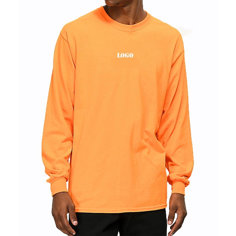 Custom logo front and back printing orange long sleeve t-shirt Pima cotton thick men streetwear t shirt