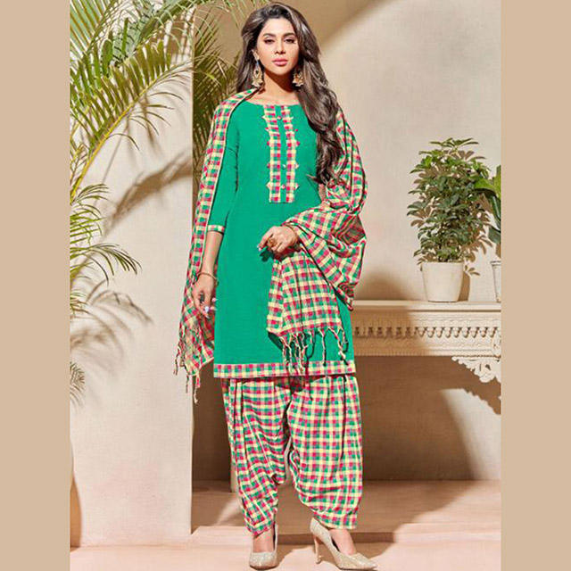 Casual Wear Punjabi Style Plain Handloom Cotton Patiala Suits Collection