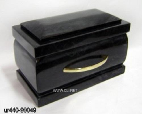 Cheap Price Marble Jet Black Casket Shaped Cremation Urns Urnas Urny