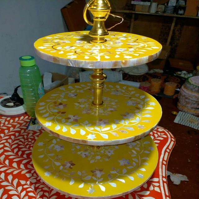 Handmade India Unique Mother Of Pearl Wedding cake stand afternoon cake stand