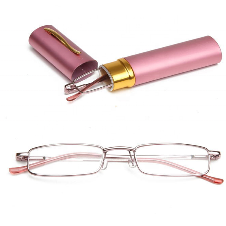 Colorful Pen Reading Glasses With Spring Hinges Aluminum Case For Elderly