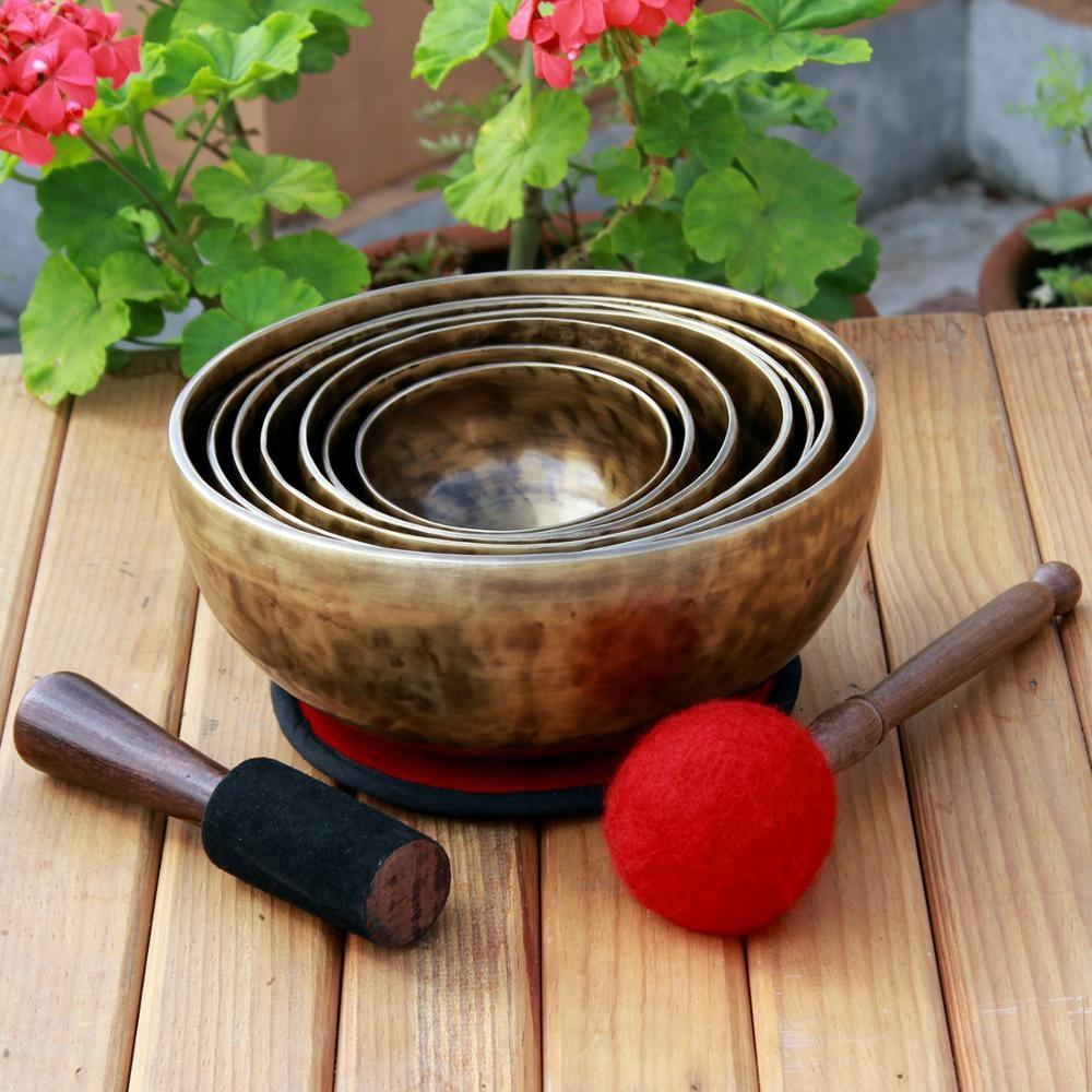 NBTE- Handmade Chakra Healing Singing Bowls Set; Harmonised Sound with Perfect Tuned Singing Bowls for Professional Use;