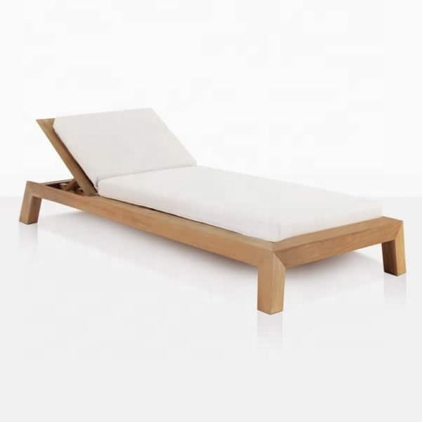 Contempa New Modern Style Sun Lounger From Teak Solid Wood With Cushion