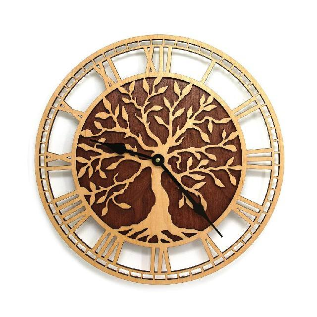 Tree shaped design circular clock, quartz clock made in Vietnam now on sale