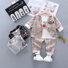 In 2020, the new boy's formal dress plaid suit 3-piece suit for children aged 1-4 years old fashion clothes for kids