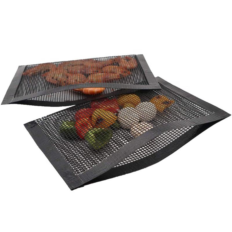 Pack of 2 BBQ Baked Grilling PTFE Bag Non-Stick Reusable BBQ Grill Mesh Bag