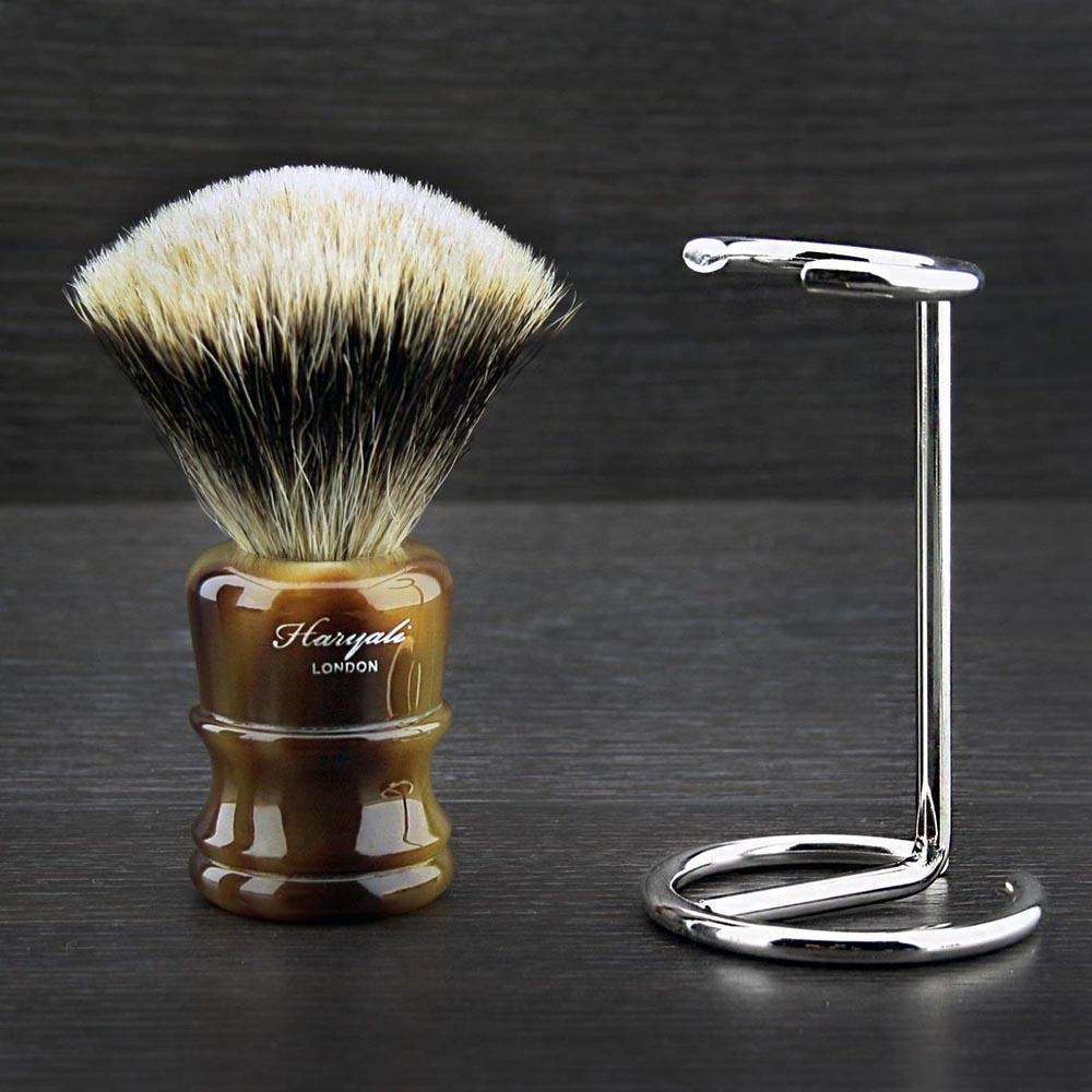 Silver Tip Badger Shaving Brush NEW HORN COLLECTION & Shaving Stand
