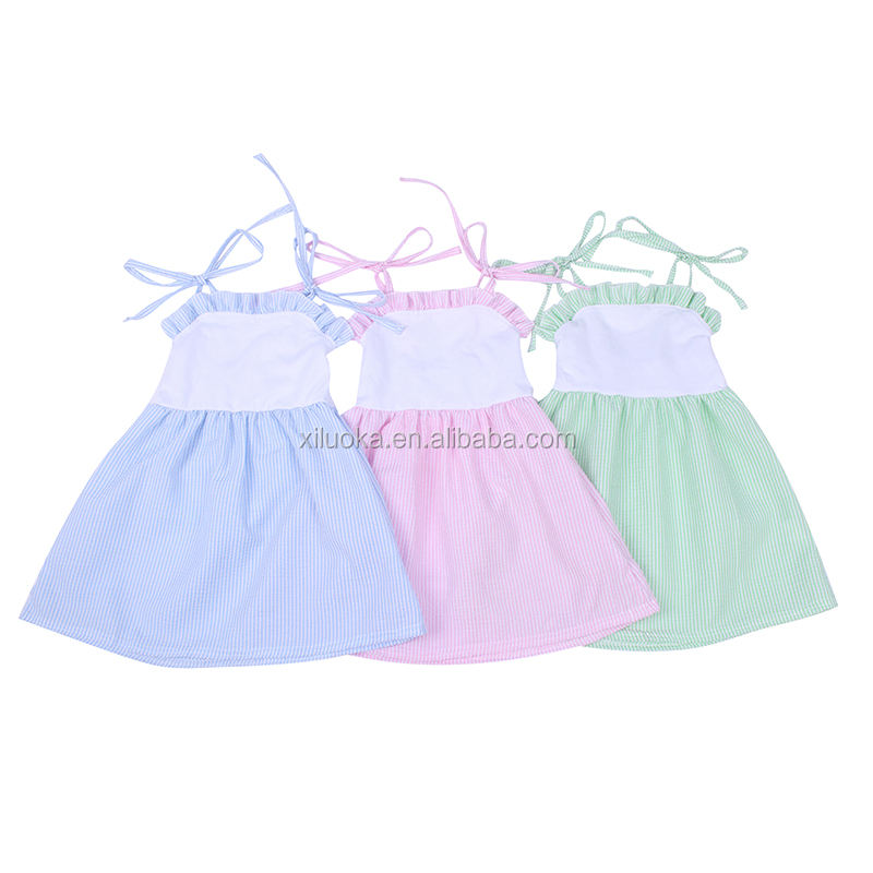 Wholesale Price Baby Girl Summer Smocked Clothing Boutique Kids Seersucker Dress