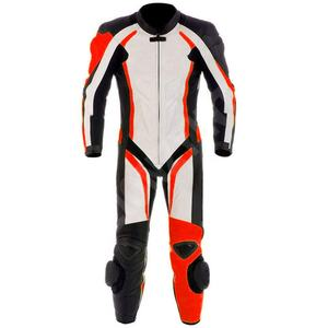 Custom Made Cowhide Leather Motorcycle Racing Men's 1 Piece Suit with CE Certified Armors