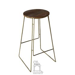 WHOLESALE  Industrial metal design iron art solid wood seat high bar stool with footrest WOODEN BAR FURNITURE BAR STOOL