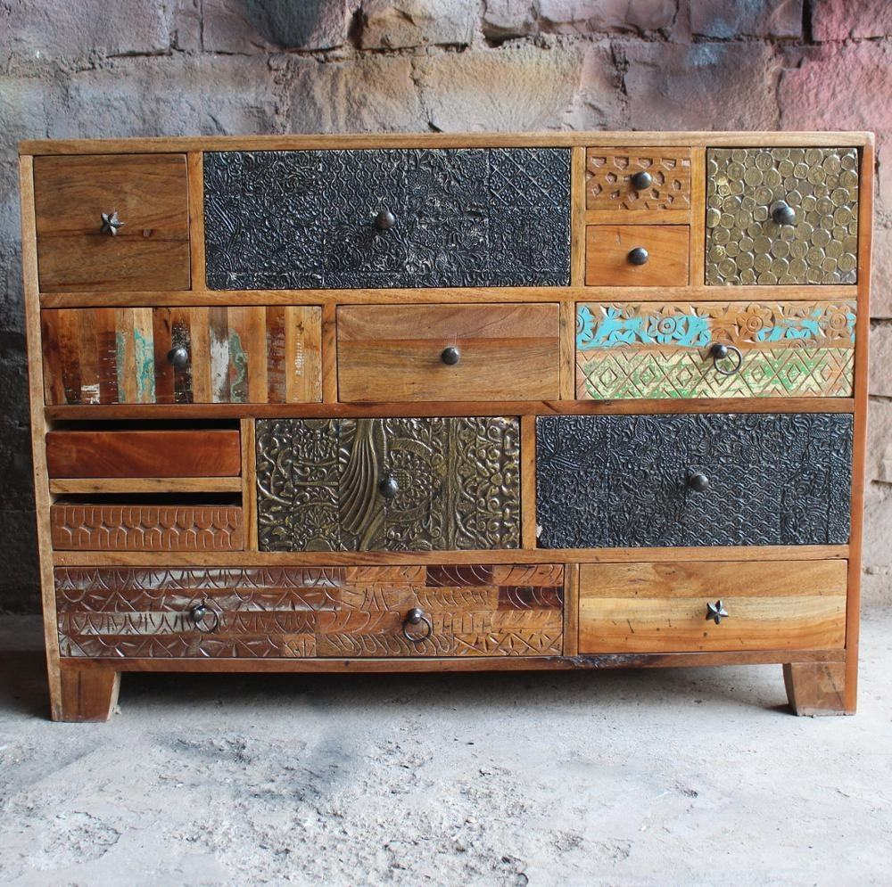 Reclaimed Wood Vintage Rustic With Brass And Antique Fitting On 14 Drawers ND Art Export India Chest Of Drawer