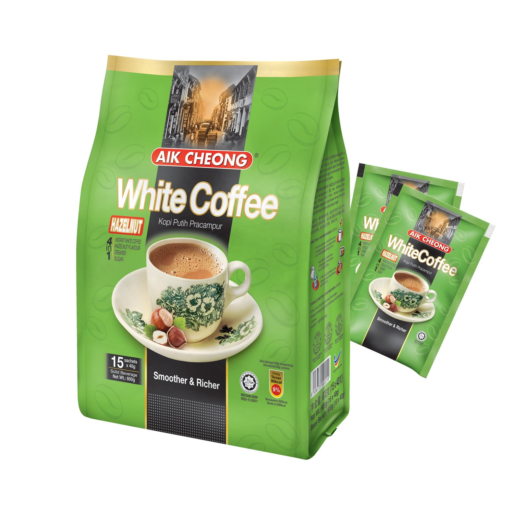 Aik Cheong (Hazelnut Flavour) Instant White Coffee 3 in 1 Malaysia (15 Sachets x 40g) Net Weight 600g