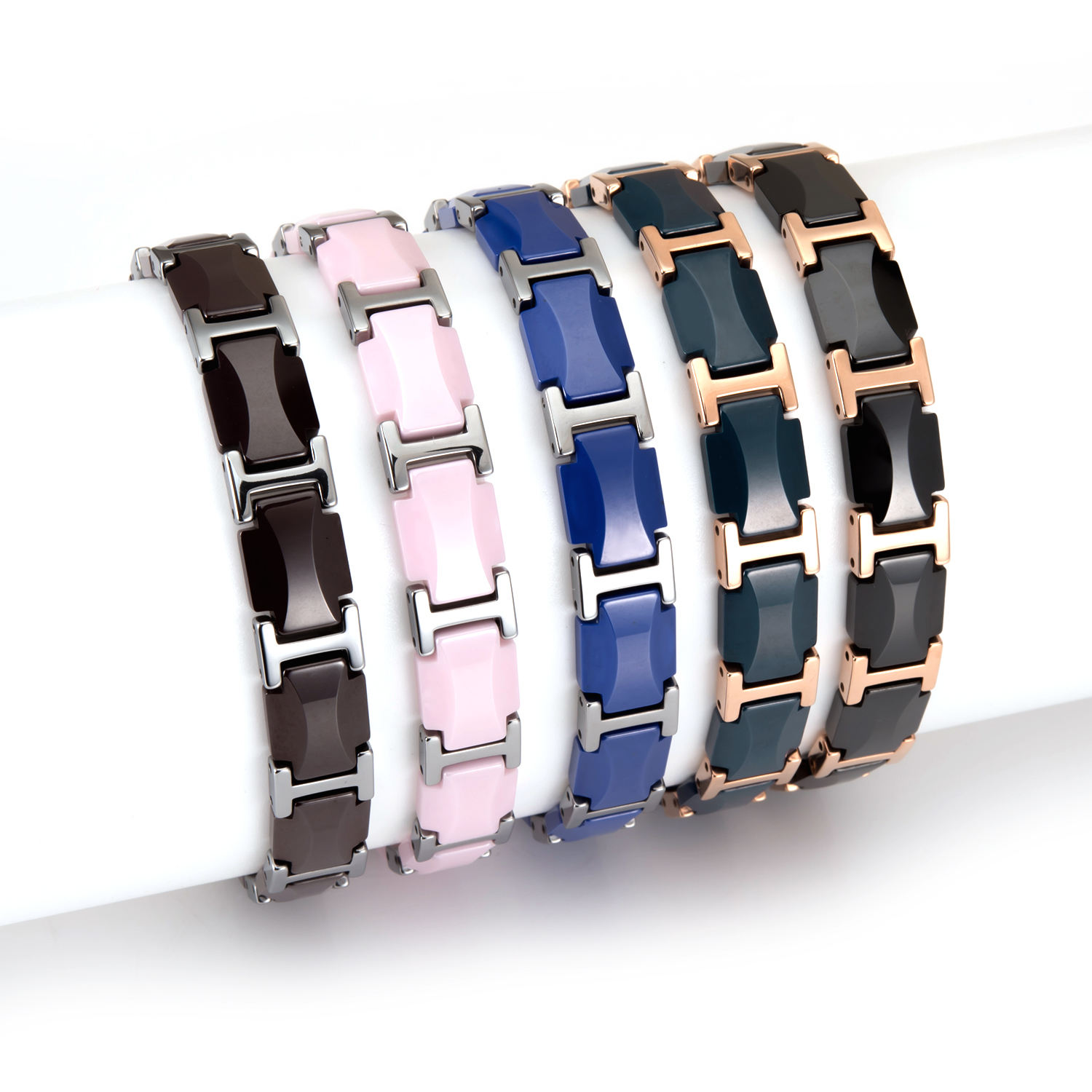 Wholesale High-tech Delicate Shinning Polished Stainless Black White Blue Bio Magnetic Wide Ceramic Bracelet With Watch Clasp