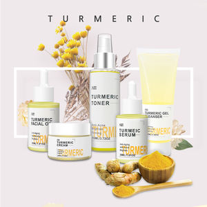 organic skincare set anti acne whitening fresh turmeric root cream face care private label skin care