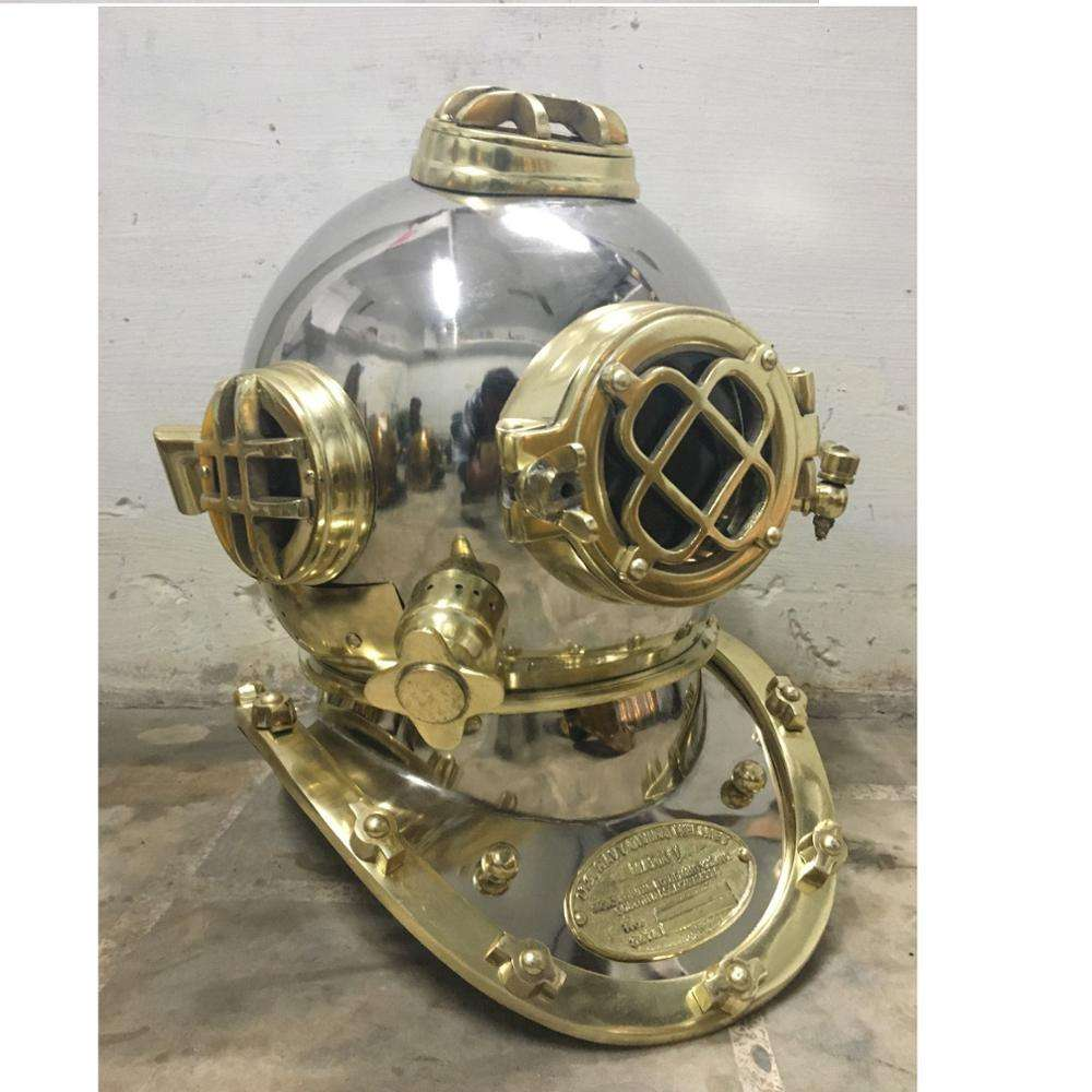Nickel and Brass Plating Diving Helmet Antique Diving Helmet Vintage Diving Helmet