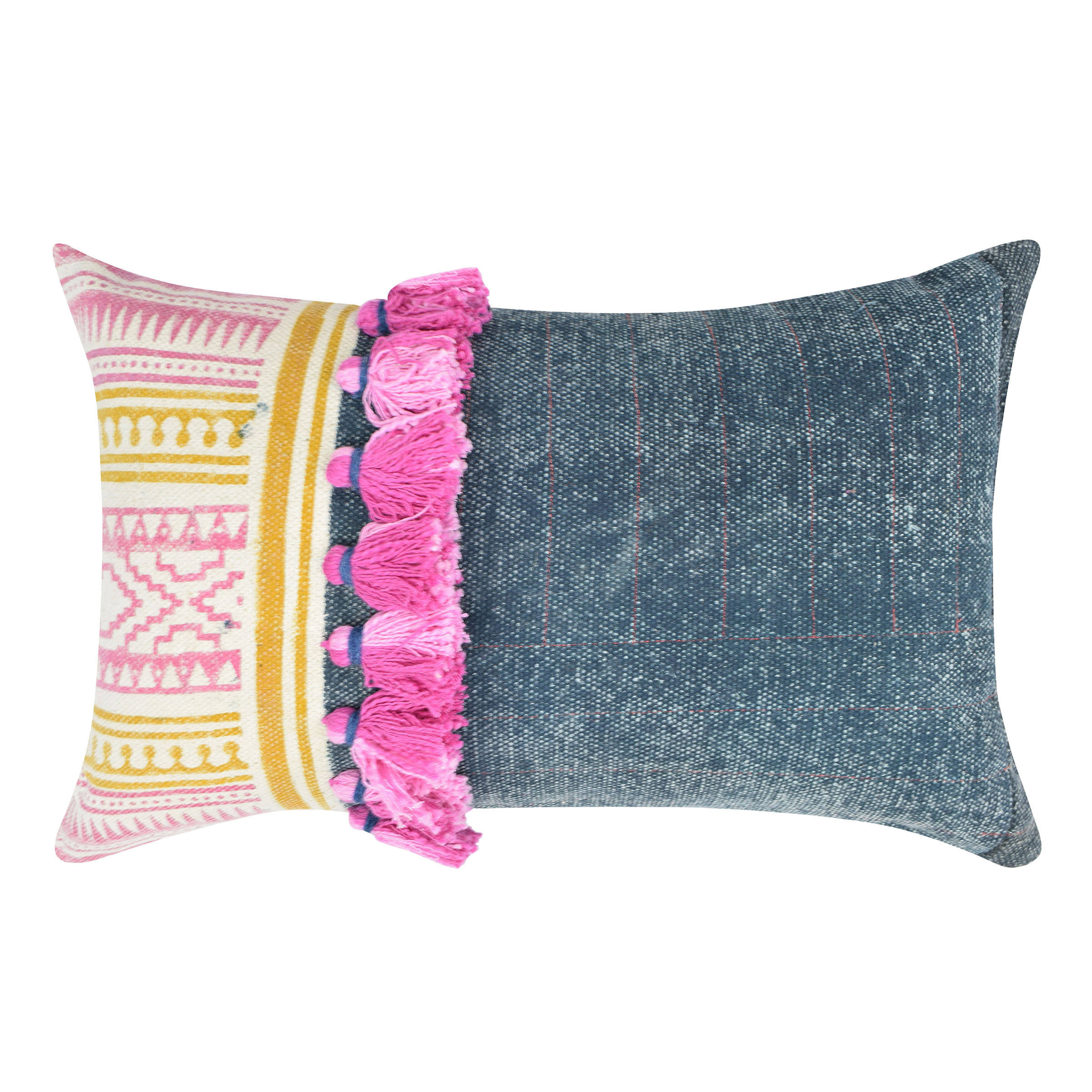 Multi Colour Cotton Hand Embroidery Pillow Geometric Cushion Cover