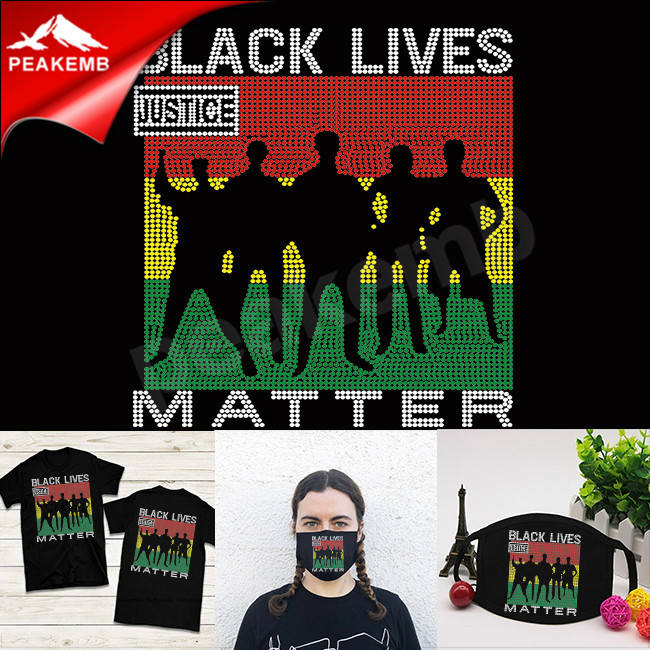 Colorful rhinestone design black lives matter transfer iron on t-shirt