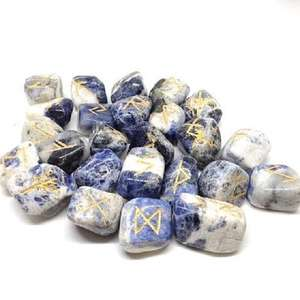 BLUE SODALITE TUMBLED WITH REIKI ENGRAVED HEALING RUNE SET FOR SALE