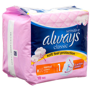 Always Classic Maxi Pad Sensitive W / Wings 10 Ct
