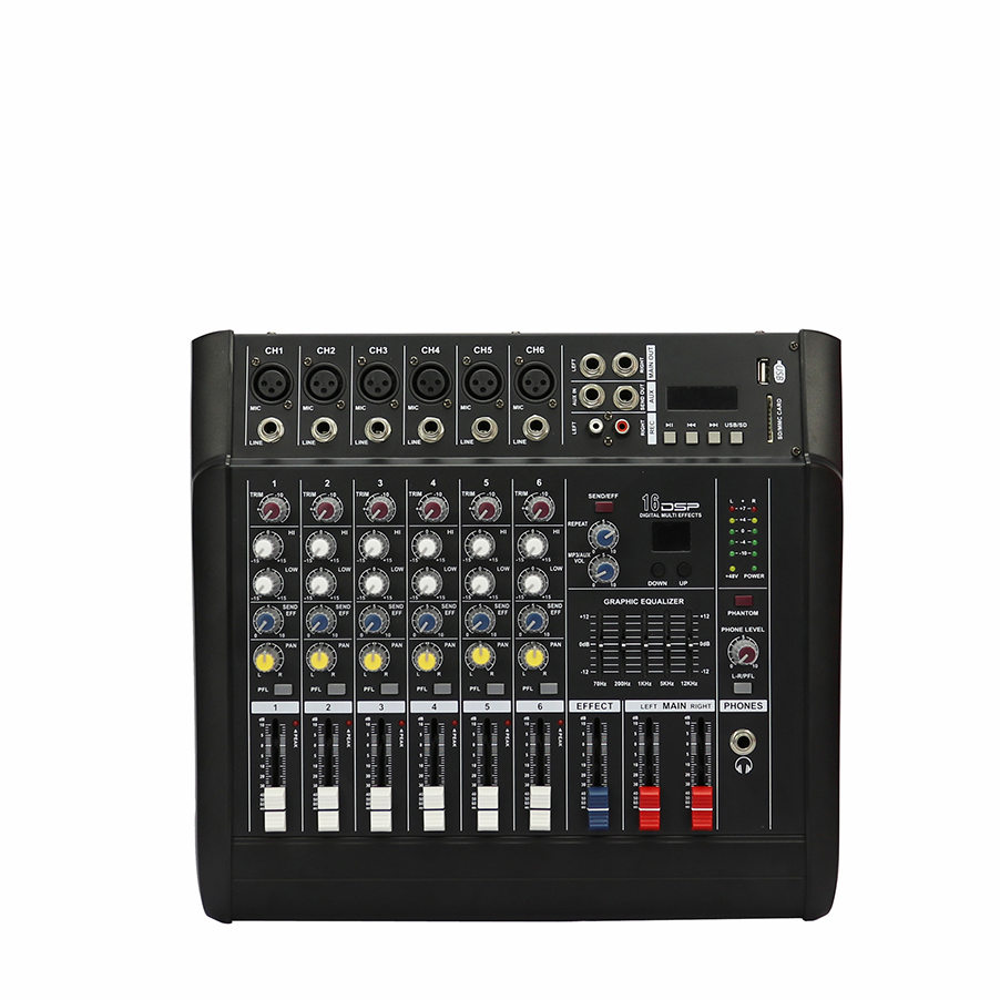 YOSSIC 6 canais de áudio de som mixer com USB MP3 player + 48v phantom power para karaoke