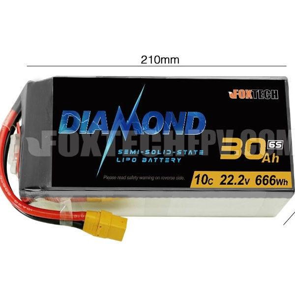 Foxtech Diamond 6S 30000mAh Semi-solid State Lipo Battery for Multicopter, Helicopter and UAV