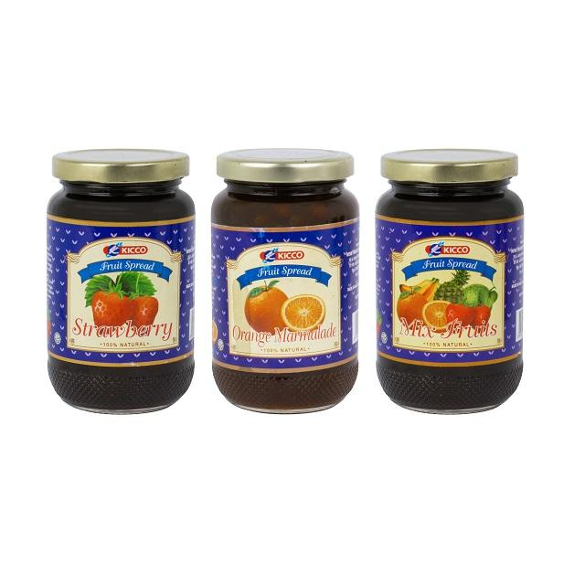 Kicco Fruits Jam Strawberry/Orange/Mix Fruits Malaysia Supplier in Glass