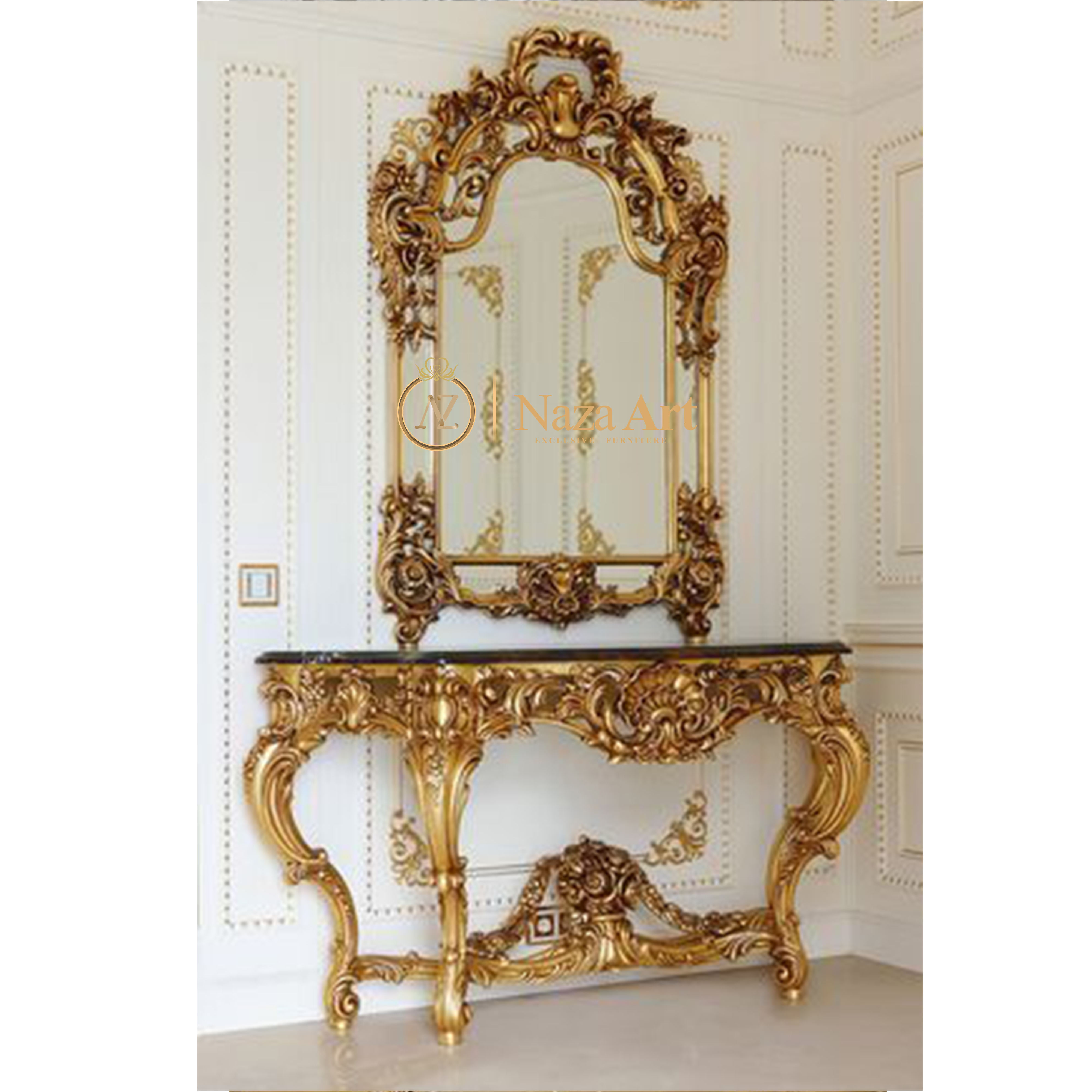 Antique Gold Classic Console Table With Wooden Mirror Italian Carving Wood Tables For Living Room