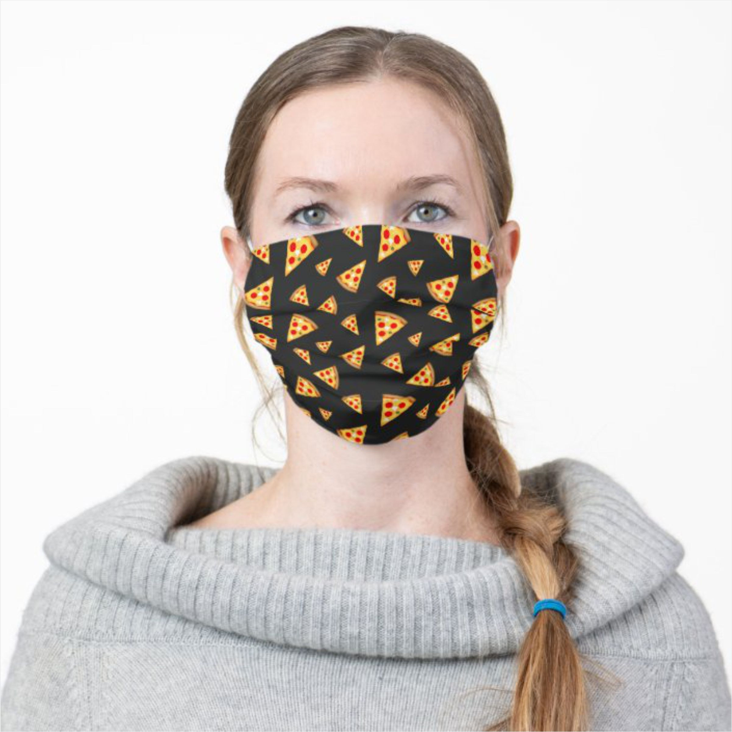 cool and fun pizza slices pattern cloth face-mask