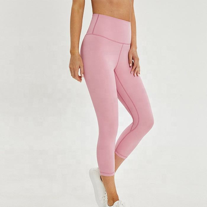 Bébé Rose Haute Attend Compression Femmes Legging Capri