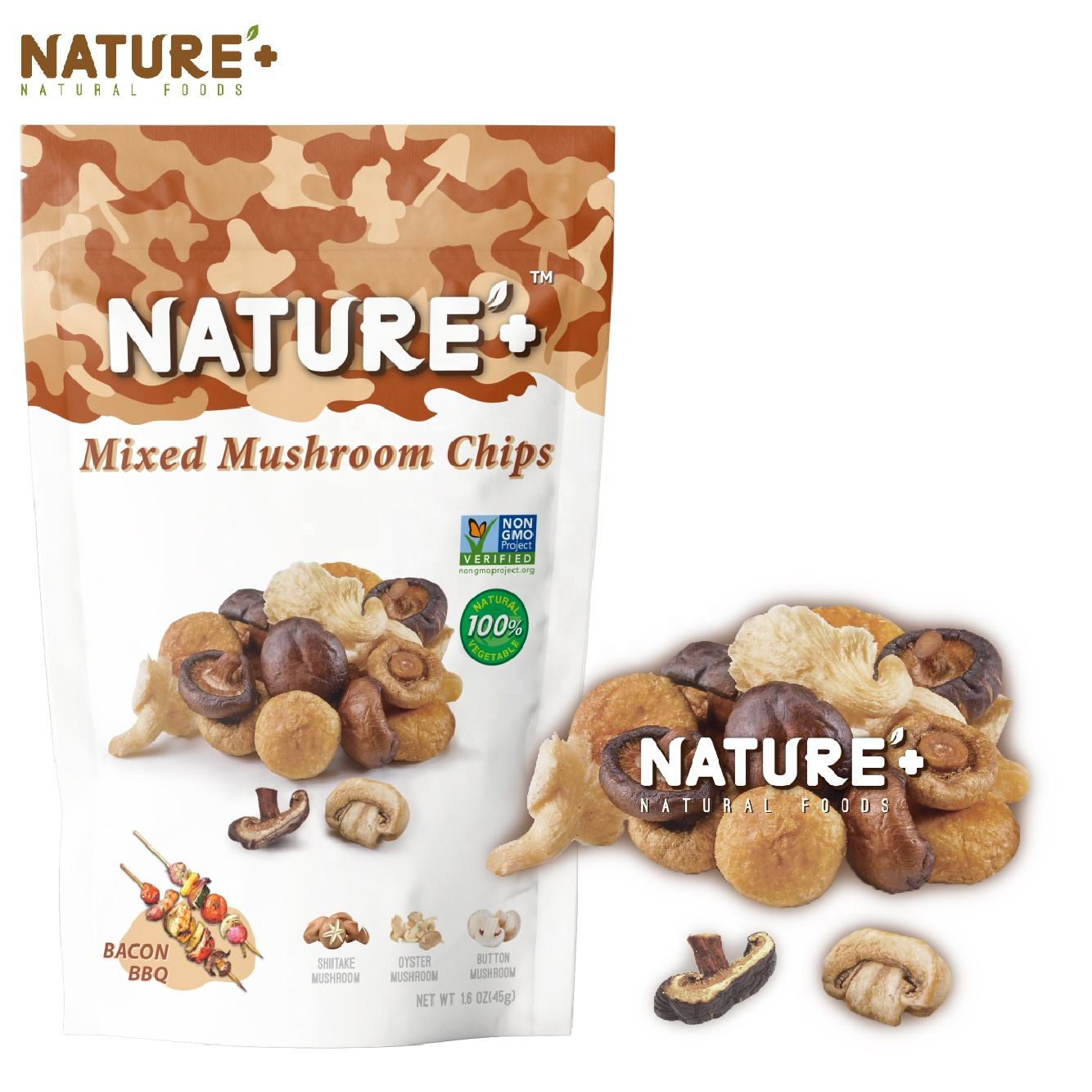 Mixed Mushroom Chips | Bacon BBQ | Private Label | Healthy Snacks | Sustainably | Direct from Farm | Vegan | No Preservatives