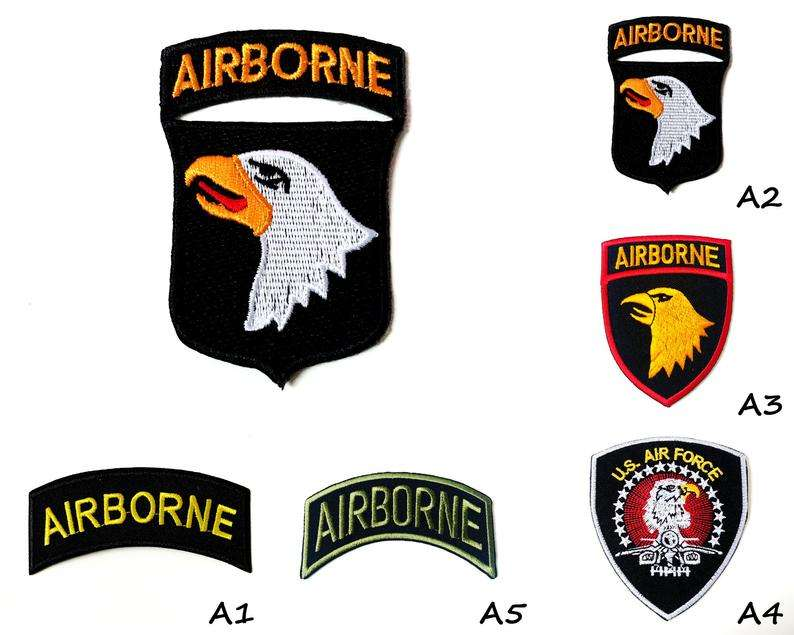 Airborne Air Force US Army Eagle Flag American Logo Embroidered AppliqueIron Sew on Jacket Applique Patch Military Accessories