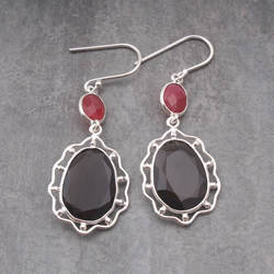925 sterling silver jewelry smoky quartz, ruby faceted gemstone earring