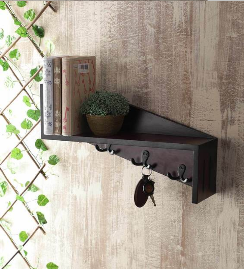 traditional designer Solid Wood Floating Wall Shelf with Key Holder in Brown colour