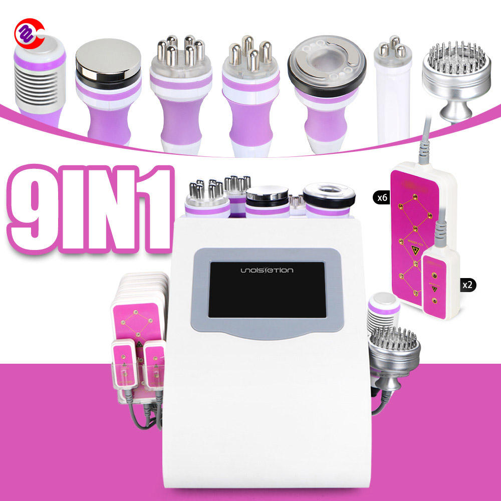 9 in 1 Cavitation rf vacuum laser, ultra cavitation and liposuction machine high frequency therapy device