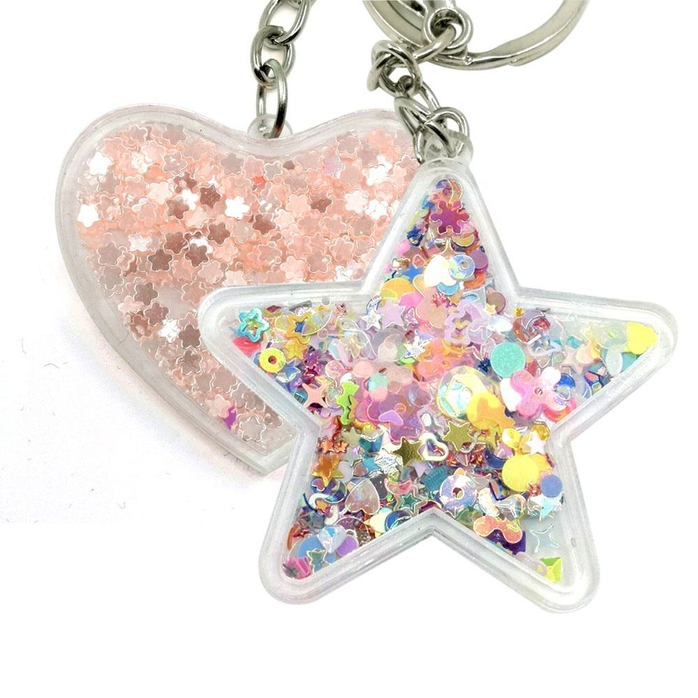 Personalized letters custom acrylic key chain heart shaped glitter acrylic keychain