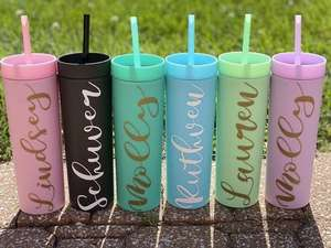 Personalized SKINNY TUMBLERS Acrylic Tumblers Double Wall Plastic Tumblers With Straw plastic travel mug insulated coffee cup