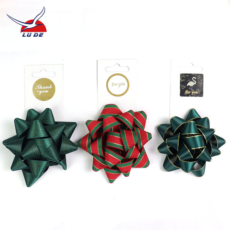 12pcs/set Wholesale BSCI factory Decorative Christmas Ribbon Bows 4''colorful star ribbon bows for gift holiday decoration