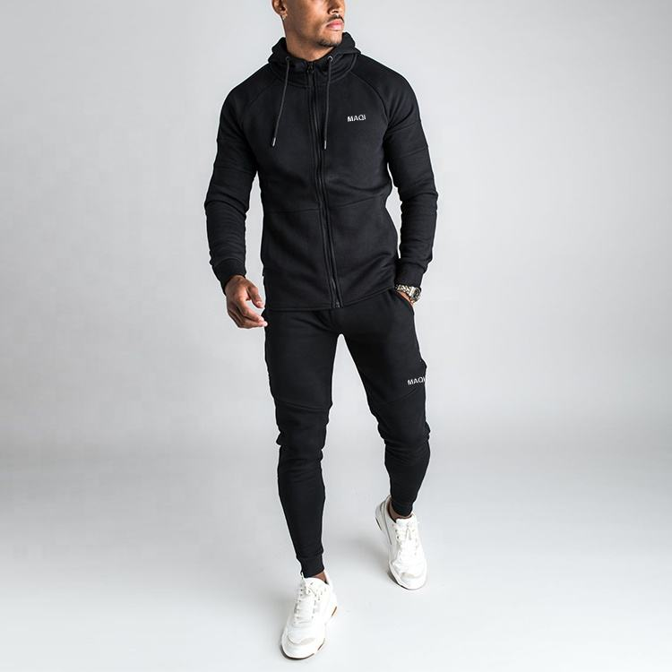 wholesale men winter Autumn blank Slim Fit sweatsuit men thick Casual tracksuit