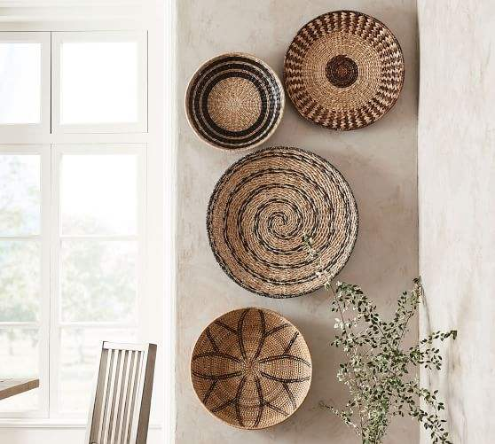 Hot sale Set of 4 Seagrass Woven Wall Plate/ Wall Hanging Decoration Hanging