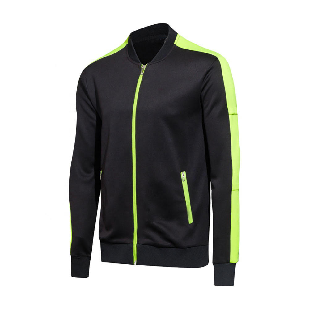 Men Jacket And Joggers Pants Sweat Track Suit Black Color Green Zip Plain Track Suits For Youth