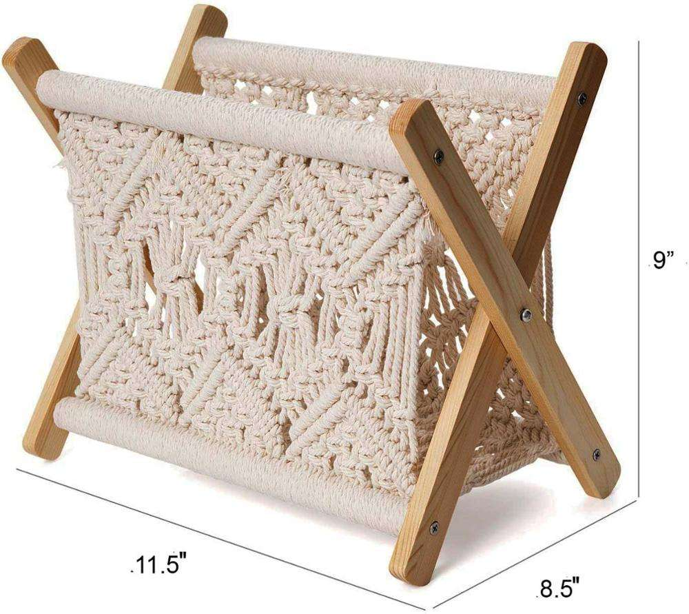 Customized Macrame Book Shelf Storage Holder Stand wooden Counter Metal Modern Office