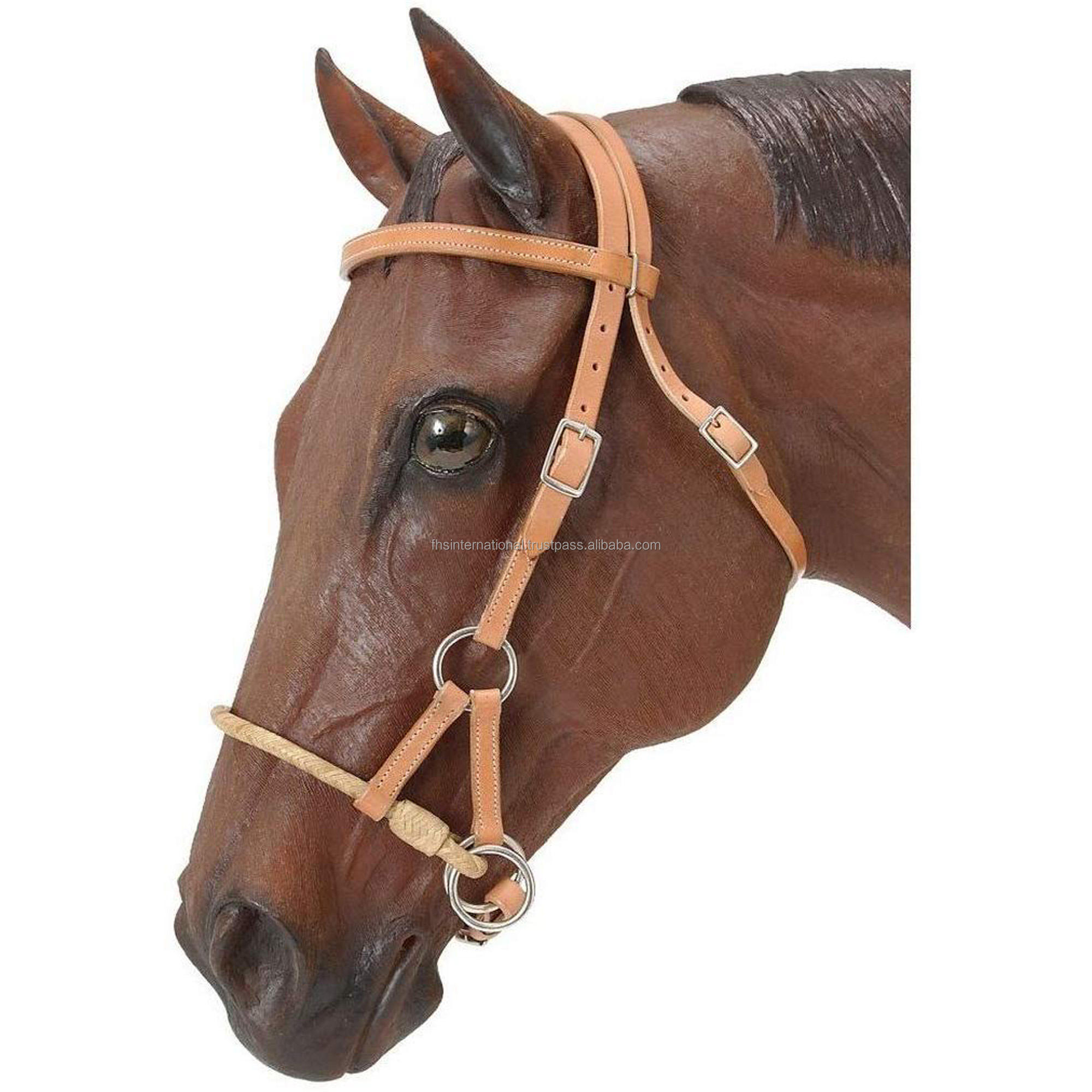 Top Quality - Rawhide Single Rope Side Pull Leather Bridle - Western Horse Bridle - Bitless Bridle - American Cow Harness