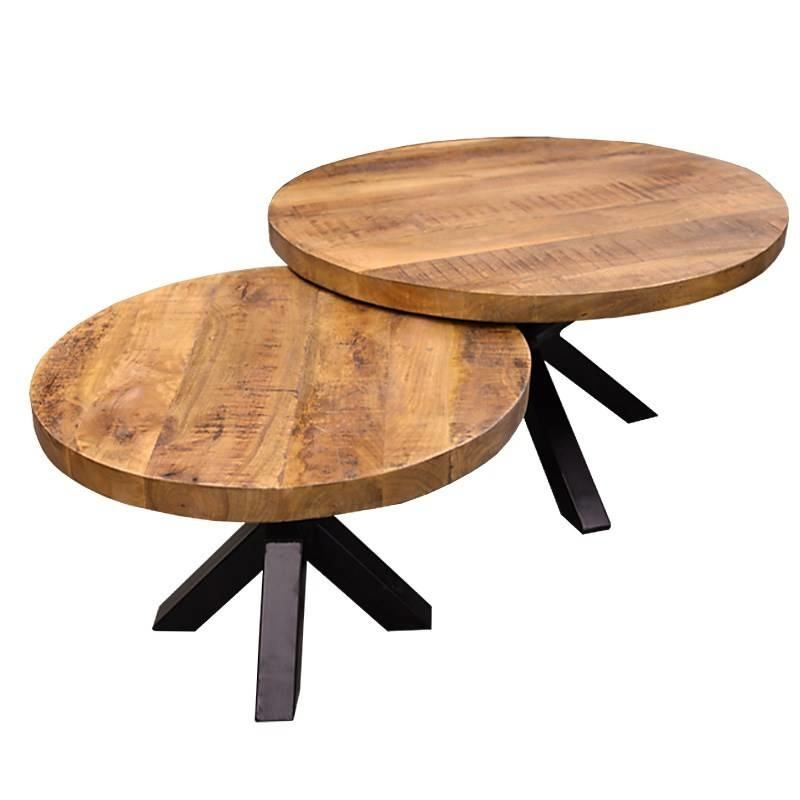 Vintage Round mango coffee tables with industrial spider legs set of two