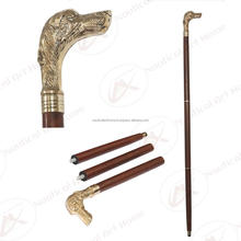 Walking Stick - Brass Dog Head Handle with Wooden Shaft Walking Stick - Animal Head Walking Stick - Walking Cane - NAH19012