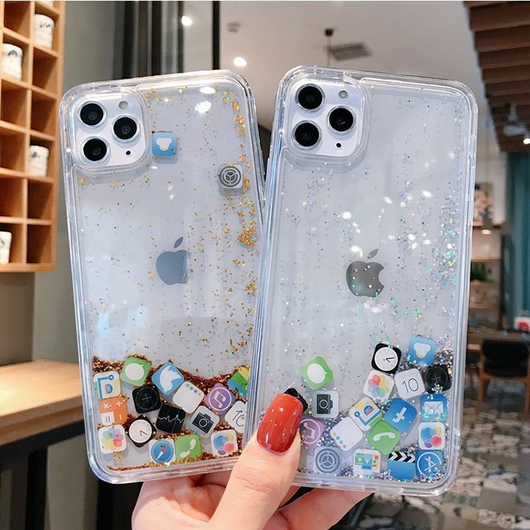 Liquid Glitter Colorful Bling Quicksand for IOS APP for Apple for iPhone 11 Luxury Case